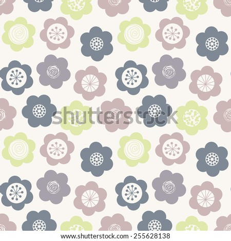 Vector seamless pattern. Modern stylish texture. Repeating geometric tiles with daisies. Stylized floral background. Cute flowers in pastel colors - stock vector
