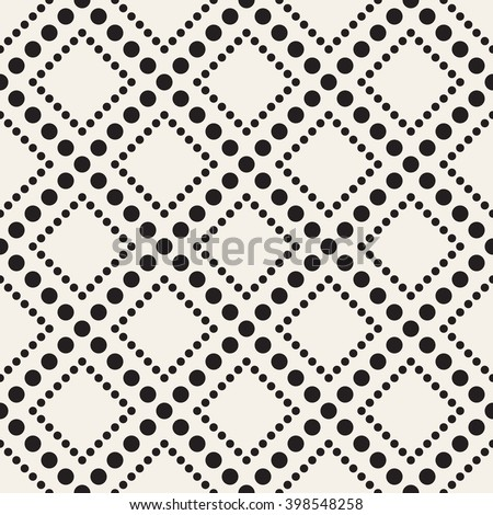Vector seamless pattern. Modern stylish texture. Repeating geometric tiles with dotted rhombuses.