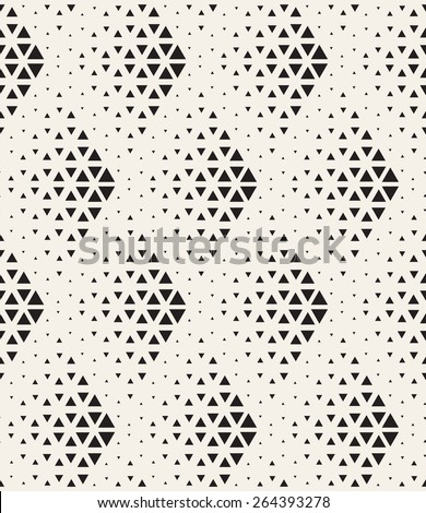 Vector seamless pattern. Modern stylish texture. Repeating geometric tiles with dotted triangles. Regular hipster background. Small triangles form halftone rhombuses. Contemporary simple ornament - stock vector