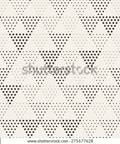 Vector seamless pattern. Modern stylish texture. Repeating geometric tiles with dotted triangles. Trendy hipster background. Small circles form triangular minimalistic ornament. - stock vector