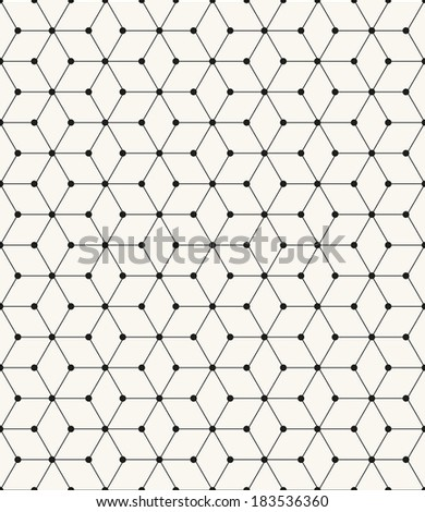 Vector seamless pattern. Modern stylish texture. Repeating geometric tiles with linear rhombuses and round knots - stock vector