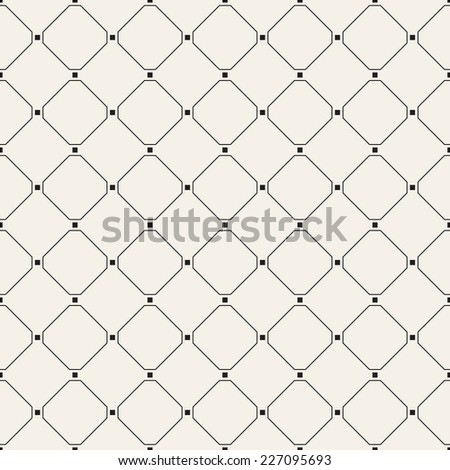 Vector seamless pattern. Modern stylish texture. Repeating geometric tiles with linear rhombuses and small squares in nodes