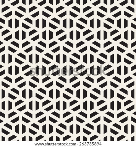 Vector seamless pattern. Modern stylish texture. Repeating geometric tiles with monochrome halves of hexagons. Contemporary graphic design. - stock vector