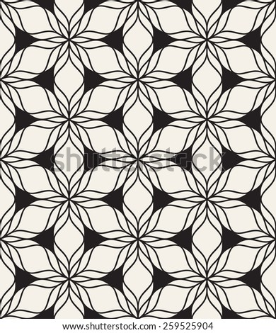 Vector seamless pattern. Modern stylish texture. Repeating geometric tiles with trefoils. Modern floral print. Contemporary graphic design. - stock vector