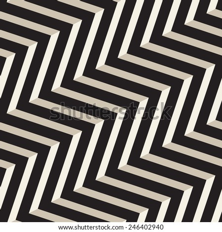 Vector seamless pattern. Modern stylish texture. Repeating geometric tiles with volume diagonal zigzag - stock vector