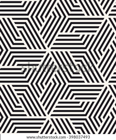 Vector seamless pattern. Modern stylish texture. Repeating tiles with hexagonal elements. Contrast geometric background.