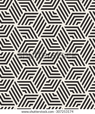 Vector seamless pattern. Modern stylish texture. Repeating tiles with striped rhombuses. Contrast geometric background.