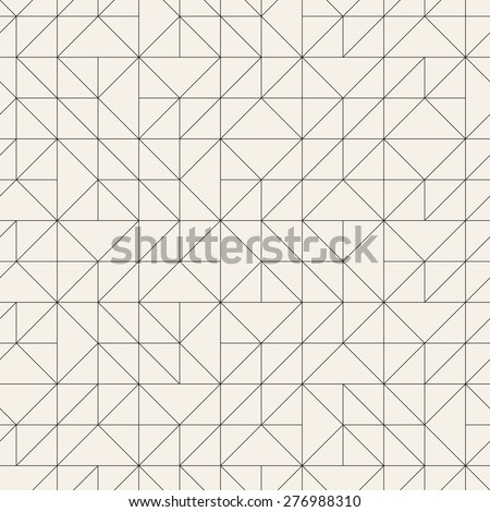 Vector seamless pattern. Modern stylish texture with linear mesh. Repeating abstract background. Triangular thin grid. Monochrome graphic design. - stock vector