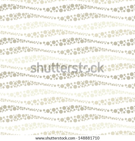 Vector seamless pattern. Modern texture. Repeating abstract background with dotted waves. Groups of stripes and circles - stock vector