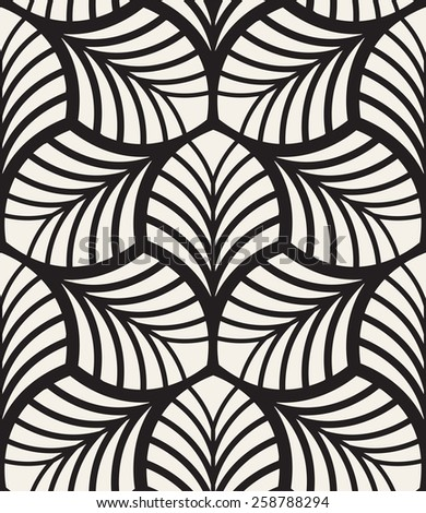 Vector seamless pattern. Monochrome graphic design. Decorative geometric leaves. Regular floral background with elegant petals. Modern stylish ornament. - stock vector