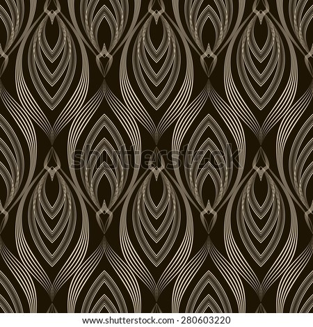 Vector seamless pattern monochrome ornament with stylized geometric elements background. Repeating texture modern graphic design - stock vector