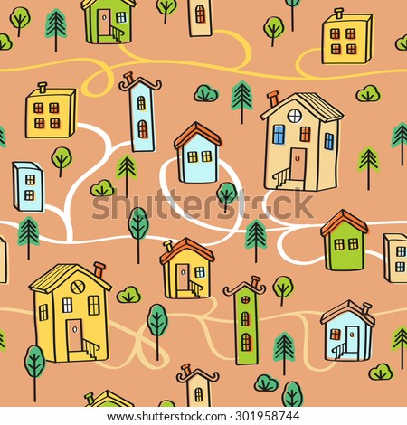 Vector seamless pattern of a town with funny vintage houses - stock vector