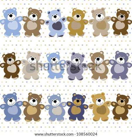 vector seamless pattern of a toy teddy bear - stock vector