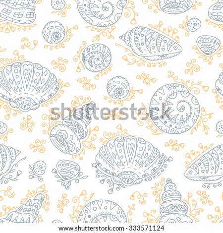 Vector Seamless pattern of abstract Seashells. Hand Drawn doodle ornamental Seashells