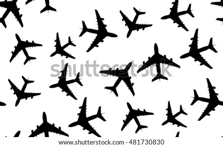 Vector seamless pattern of aircraft.