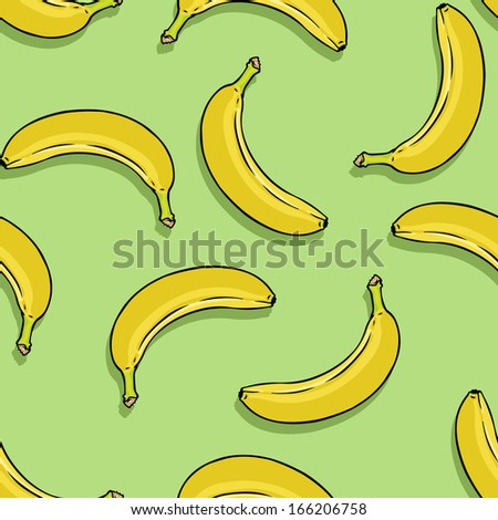 vector seamless pattern of bananas on green background - stock vector