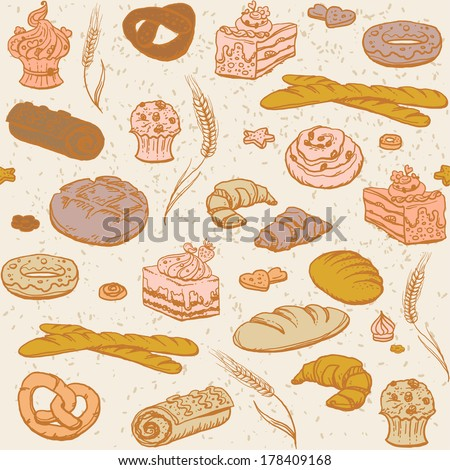 Vector seamless pattern of bread