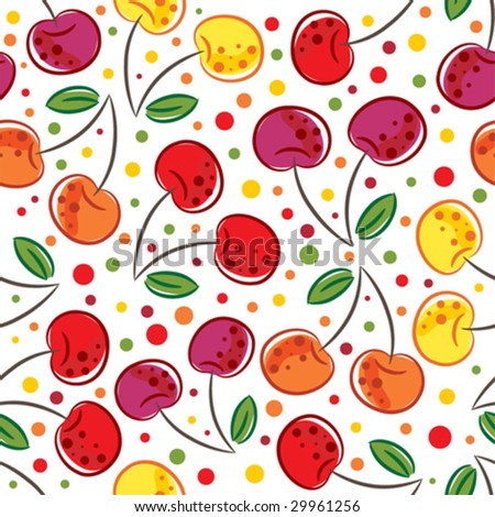 Vector seamless pattern of cherry - stock vector