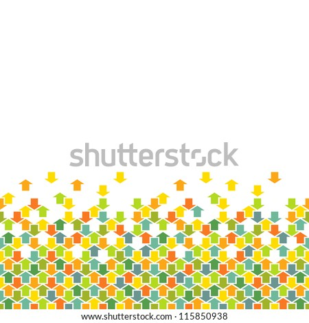 Vector seamless pattern of color arrows. Simple ornamental background with concept of movement, cooperation and concord. Abstract decorative combinatorial illustration with text box for print, web - stock vector