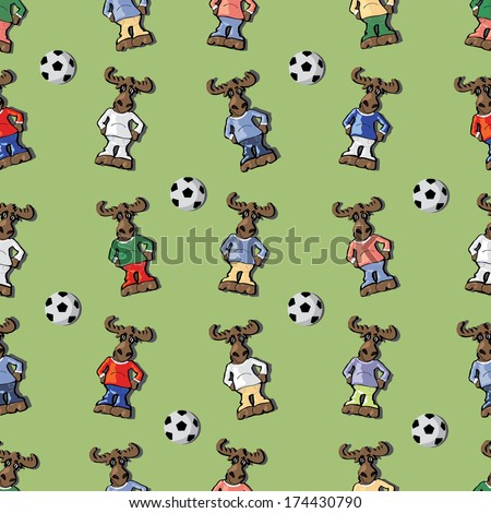 Vector seamless pattern of colored moose with balls