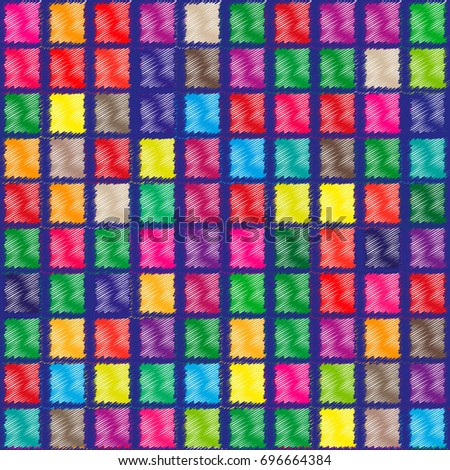 Vector seamless pattern of colored painted scribbles squares. Vector seamless geometric pattern for textiles, fabrics.