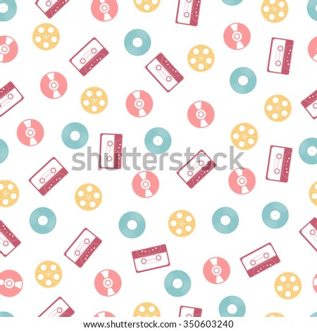 Vector seamless pattern of colorful vinyl records, audio tapes and cassettes babin on a white background. - stock vector