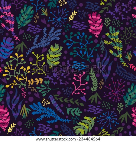 Vector seamless pattern of corals and sea plants in bright colorsEndless background. Beautiful seamless pattern. Vector backdrop, summer template. Use for wallpaper,pattern fills, web page background. - stock vector