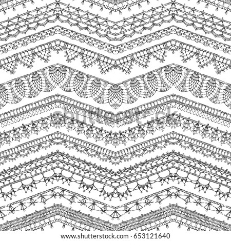 Vector Seamless Pattern Crochet Lacy Edges Stock Vector Royalty