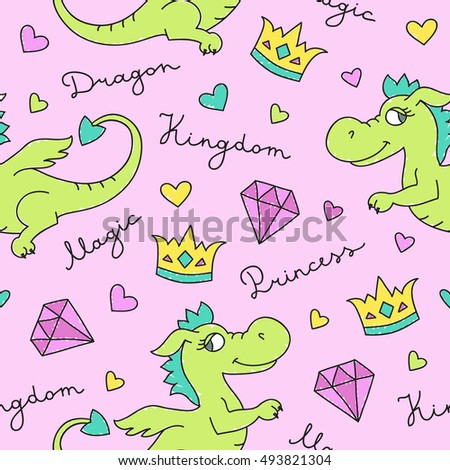 vector seamless pattern of cute cartoon dragons, crowns and diamonds, texture for fabric print, souvenirs, baby's products design