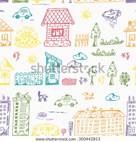 Vector Seamless pattern of doodle Cartoon houses