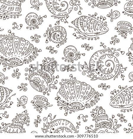 Vector Seamless pattern of doodle ornamental Seashells