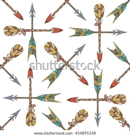 Vector seamless pattern of ethnic arrows. Set of hand-drawn tribal arrows on white background. Boho style illustration. Decorative boundless background. - stock vector