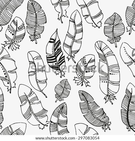 Vector seamless pattern of feathers on a white background. Vintage, tribal, artistically drawn, stylized, feathers - stock vector