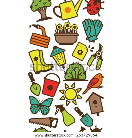 Vector seamless pattern of garden tools and accessories - stock vector
