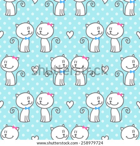 vector seamless pattern of hand drawn cats and hearts on polka dots background - stock vector