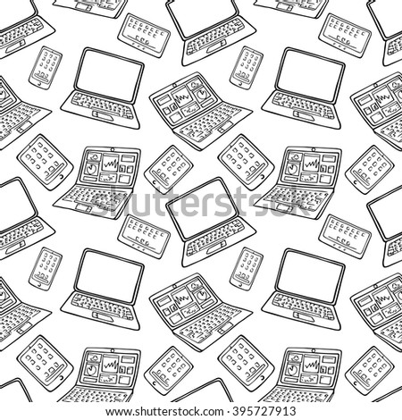 vector seamless pattern of hand drawn doodles of electronic gadgets. Laptop, PC, Phone, Tablet