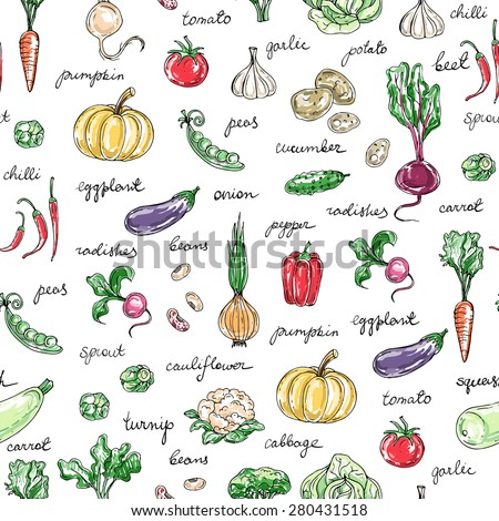 Vector seamless pattern of hand drawn fresh vegetables with titles. Background for use in design, web site, packing, textile, fabric - stock vector