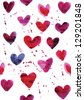 vector seamless pattern of hearts in watercolor effect - stock photo