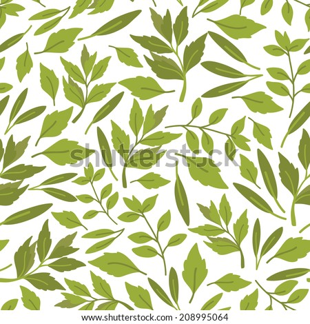 Vector seamless pattern of herbs - stock vector
