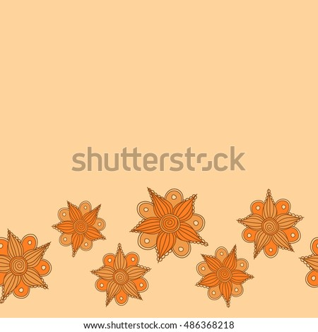 Vector seamless pattern of horizontal stylized floral motif, small flowers, hole, spots, doodles on beige background with place for your text. Hand drawn. Horizontal seamless floral background.