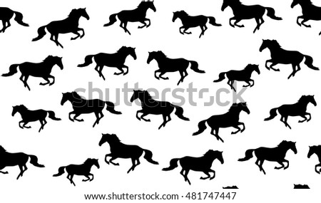 Vector seamless pattern of horses. Galloping horse texture seamless