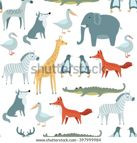 Vector seamless pattern of illustrations set of  funny cute animals - stock vector