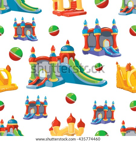 Vector seamless pattern of inflatable castles and children hills on playground. Pictures isolate on white background - stock vector