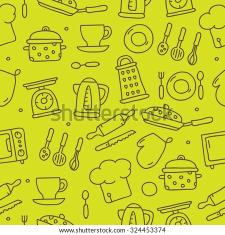 Vector seamless pattern of kitchen icons on a green background, hand-drawn.  - stock vector