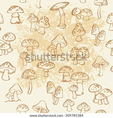 Vector seamless pattern of mushroom and toadstools