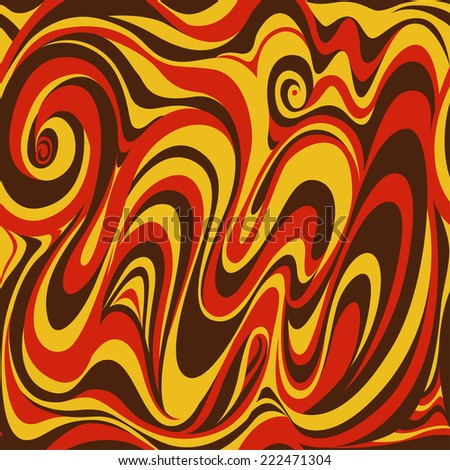 Vector seamless pattern of orange and brown waves and curves, autumn colors
