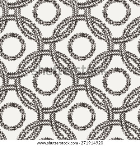 Vector seamless pattern of ornate interlocking circles of lace - stock vector