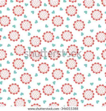 Vector Seamless pattern of pink flowers with hearts - stock vector