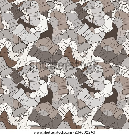 Vector seamless pattern of randomly scattered socks