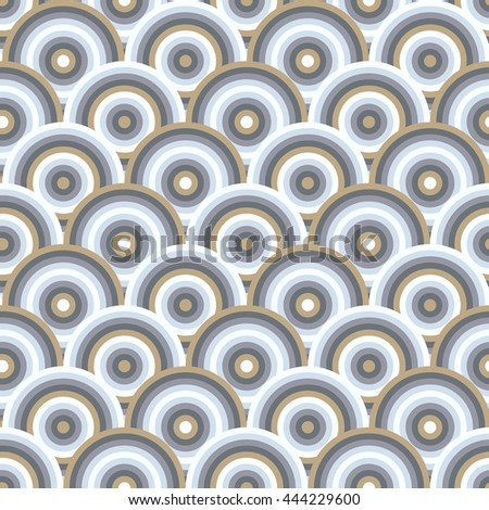 Vector seamless pattern of semi circles in peacock style. Abstract geometric background in pastel colors